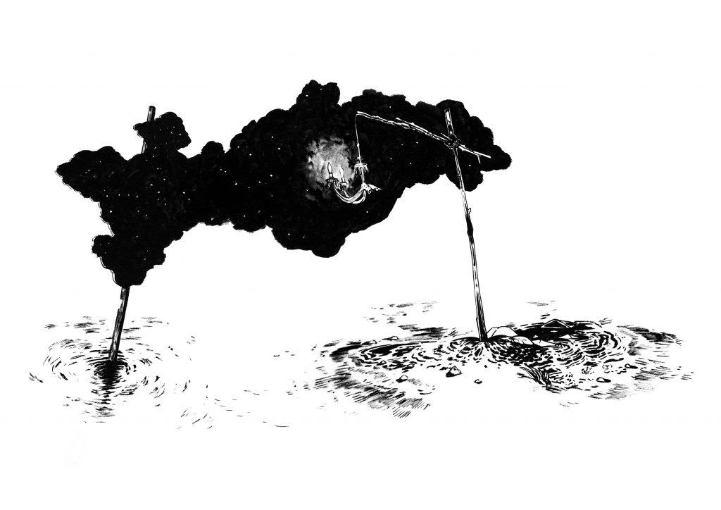 7 - Benchamma Abdelkader - Représentation de matière sombre autour d'un point lumineux - 2011 - 84 x 68